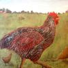 Strutting Speckled Rooster Original Acrylic Painting by Ginny Abblett $92.00