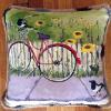 Bicycle and Magpies Pillow   16 x 16   SOLD