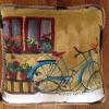 Bicycle and Flowers Pillow   16 x 16    SOLD